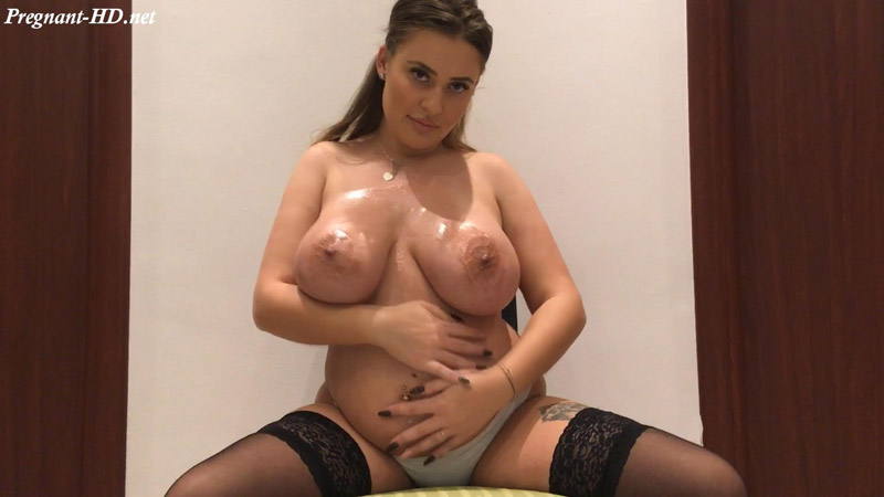 Oily boobs and pregnant belly spoiling – PregnantDoll