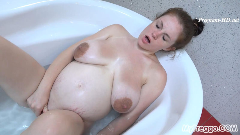 Pregnant Angel Fingers Herself in the Bath! – MyPreggo – Angel