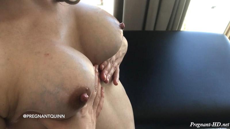 Fan Video 2 – Pregnant Titty Oil Tease – PregnantQuinn