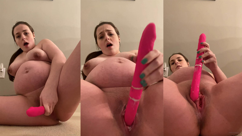Fan Video 3 – Red Dildo For Pregnant Creamy Orgasm – SweetSugarLips
