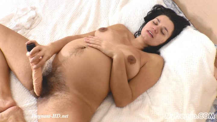 Can Nina Fit This Huge Dildo in Her Unshaved Pussy? – MyPreggo – Nina