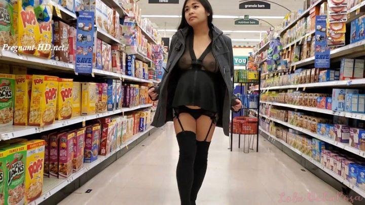 See-Thru Bottomless Pregnant Shopping – Lola DeLaRosa